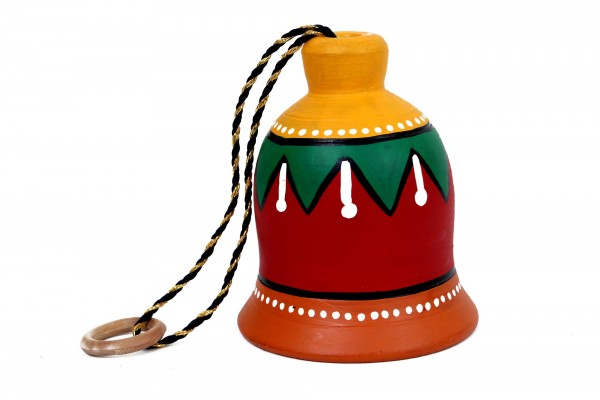 Terracotta Decorative Multicolored Medium Earthen Bell