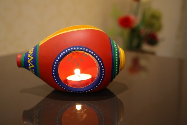 Terracotta Handpainted Red Color Shank Shape Tea Light Holder