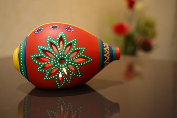 Terracotta Handpainted Red Color Shank Shape Tea Light Holder