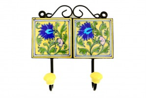Blue Pottery Yellow Cloth and Key Hanger