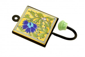 Flower Work Yellow Blue Pottery Clothes or Key Han...