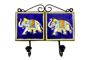 Elephant Printed Blue Pottery Clothes or Key Hange...