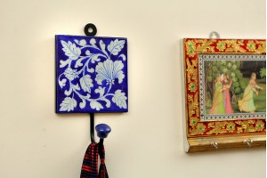 White Flower Printed Ceramic Blue Pottery Key or C...