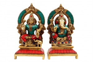 Brass Figurine Lakshmi Ganesha with Red and Green ...