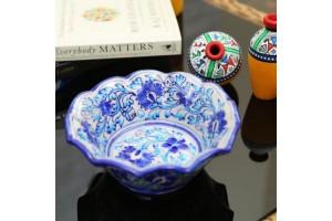 Blue Pottery Flower Shape Bowl