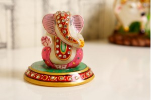 Red Color Marble Carved Ganesha On Plate