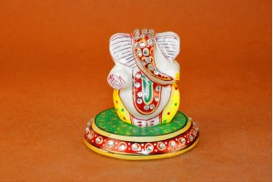 Yellow Color Marble Carved Ganesha On Plate