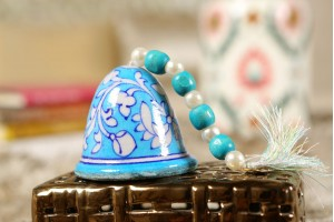 Blue Pottery Medium Sky Blue Christmas Bell