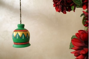 Terracotta Large Green Color Antique Bell