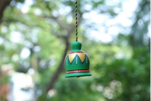 Terracotta Small Green Color Antique Bell