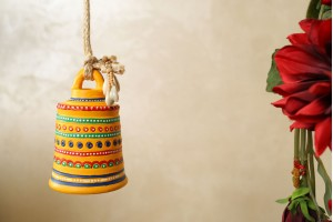 Terracotta Yellow Color Earthen Antique Bell