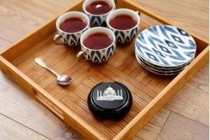 Marble Black Tea Coaster With Inlay Taj Mahal