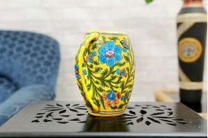 Blue Pottery Yellow Beer Mug
