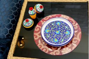 Blue Pottery Floral Design Serving Plate