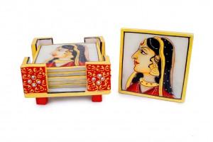 Lady Printed Marble Square Tea Coaster Set