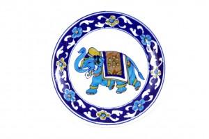 Blue Pottery Elephant Printed Plate