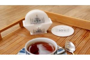 White Marble Tea Coaster Inlay With Taj Mahal