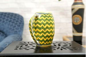 Blue Pottery yellow ziczac Pattern Beer Mug
