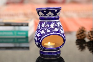 Blue Pottery Flower Painted Aroma Diffuser