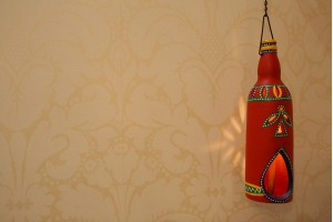 Terracotta Bottle Design Red Tea Light Holder