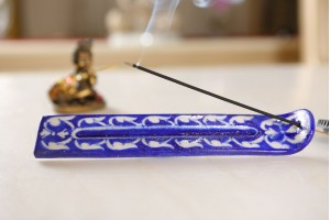 Blue Pottery White and Blue Incense Stick Stand