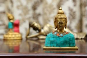 Brass Lord Buddha Bust with Aqua Blue Stonework