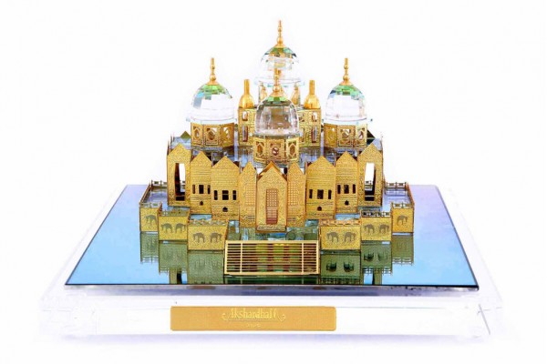 Crystal 24 Karat Gold Plated Large Akshardham Temple
