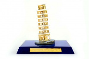 Crystal 24 Karat Gold Plated Small Leaning Tower o...