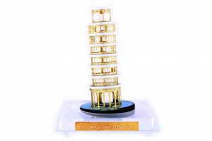 Crystal 24 Karat Gold Plated Large Leaning Tower o...