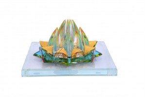 Crystal 24 Karat Gold Plated Large Lotus Temple