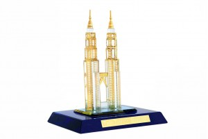 Crystal 24 Karat Gold Plated Small Twin Tower