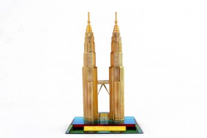 Crystal 24 Karat Gold Plated Large Twin Tower