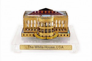 Crystal 24 Karat Gold Plated Large White House