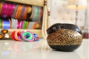 Black Paper Mache Rabbit Shape Jewellery Box