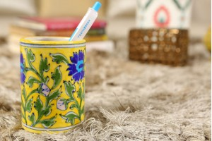Blue Pottery Round Yellow Pen Stand