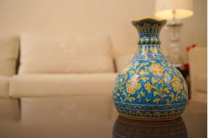 Blue Pottery Floral Design Flower Vase