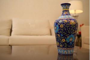 Blue Pottery Multi color Flower Vase
