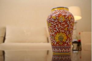Blue Pottery Flower Printed Floral Design Vase