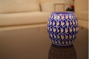 Blue Pottery Drum Shape Vase