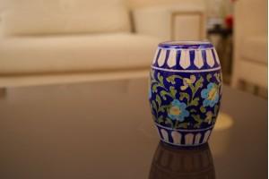 Blue Pottery Flower Printed Drum Shape Vase